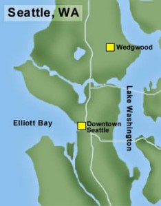 The Wedgwood neighborhood was outside of the Seattle City limits until the 1940s. Map courtesy of HistoryLink.