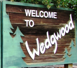 The Welcome to Wedgwood sign on 35th Ave NE at the corner of NE 95th Street