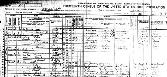 As shown on the census which was taken on April 25, 1910, William Voss and his family were living at 5610 15th Ave NE in the University District.   Sydney, son of H.B. Hardt, was a boarder in the Voss home.  Other records show that Voss bought land that year so we can guess that he began building the Big Green House later in 1910.