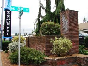 Balch's brick pillar on the northeast corner still stands.