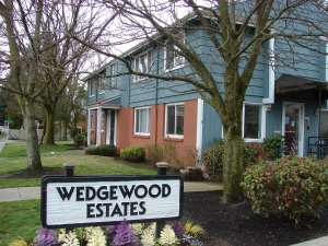 "The Wedgewood Estates Apartments is one of the few businesses in the neighborhood which still uses the extra ""e"" in the name. The rental office is at 3716 NE 75th Street, in one of the original brick fourplexes built in 1949."