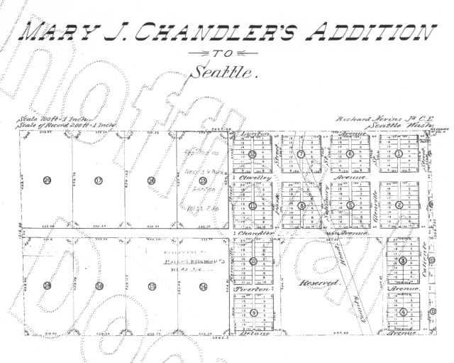 Mary J Chandler's plat map of 1890