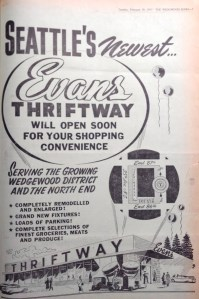 Evans Thriftway full-page ad.Wedgwood Echo of February 1957