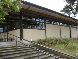 The Northeast Branch Library was built in 1954 in Northwest Modern architectural style.