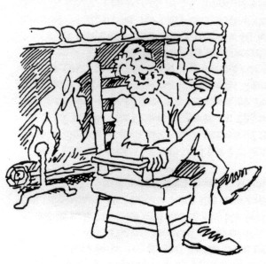 Mr. Thorpe, the ginseng farmer, as depicted in a cartoon by Bob Cram for the Wedgwood Community Council newsletter of May 1995.