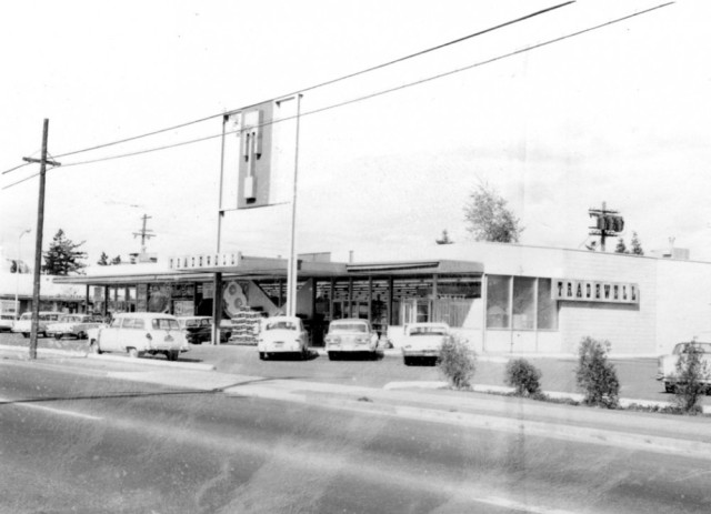 The Tradewell Grocery Store as pictured in 1962, was built in 1959 and is the present site of QFC at 8400 35th Ave NE. Photo courtesy of Seattle Municipal Archives image 76718.
