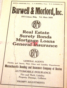 In 1920 the Burwell & Morford Real Estate Company took out a full-page ad which appeared on the inside front cover of the Seattle City Directory.