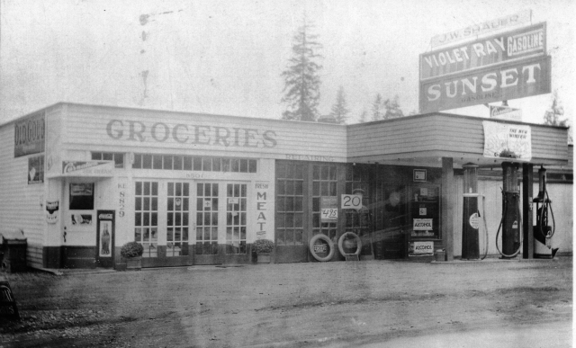 in the 1920's Shauer's grocery and gas station was on the present site of All That Dance on 35th Ave NE at NE 85th Street. Later the car repair garage became a cafe and beer parlor.