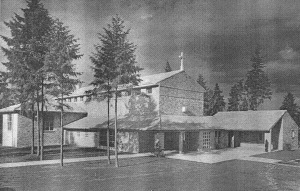 The first Our Lady of the Lake, completed in 1941, was this small brick structure designed by architect Paul Thiry. Image courtesy of the Seattle Historical Photographs Collection, #18245, Seattle Room, Central (downtown) Seattle Public Library.