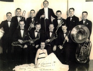 Walt Haines at far right with his tuba is pictured here with the Tommy Thomas orchestra in 1938.