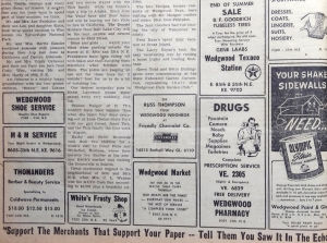 Wedgwood business ads.Echo newsletter of August 1955