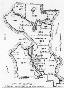 A 1938 Seattle Engineering Dept. map of the city, showing the annexation dates of different neighborhoods. A