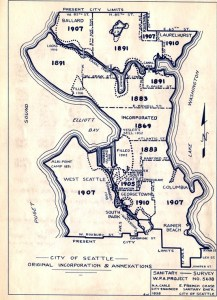 "A 1938 Seattle Engineering Department map of the city showing the annexations dates of different neighborhoods. A ""jog"" can be seen at the northeast corner where the City Limits were at NE 65th Street as of 1910. Map from the Seattle Municipal Archives Record Series 2616-03."