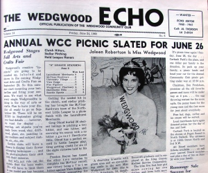 Throughout the 1950s and 1960s the Wedgwood Echo newspaper was a monthly publication, containing event notices, meeting topics and land use issues.  Featured here is the front-page announcement of the winner of the Miss Wedgwood contest of 1960, who would be the Wedgwood neighborhood's entry in the annual Seattle Seafair princess competition.