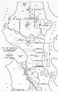 Seattle Annexation Map with numbered areas corresponding to the list of dates of annexation (see list.)  Courtesy of Seattle Municipal Archives.