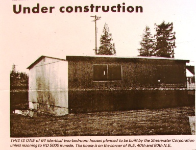 The March 1968 edition of the community council newspaper, the Wedgwood Echo, told of the little 600-square-foot houses which George Apostol was building. In January 1972 developer Robert Suess took these buildings and created an apartment complex with them behind the Dairy Queen building.