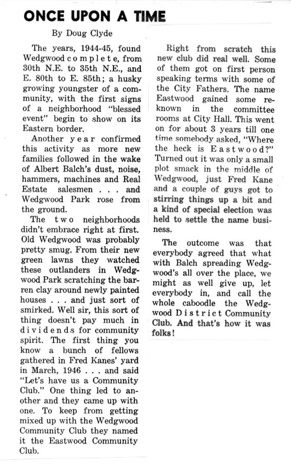 Doug Clyde's Once Upon a Time column in the June 1960 edition of the Wedgwood Echo, which told how the Eastwood Club developed and then merged with Wedgwood.