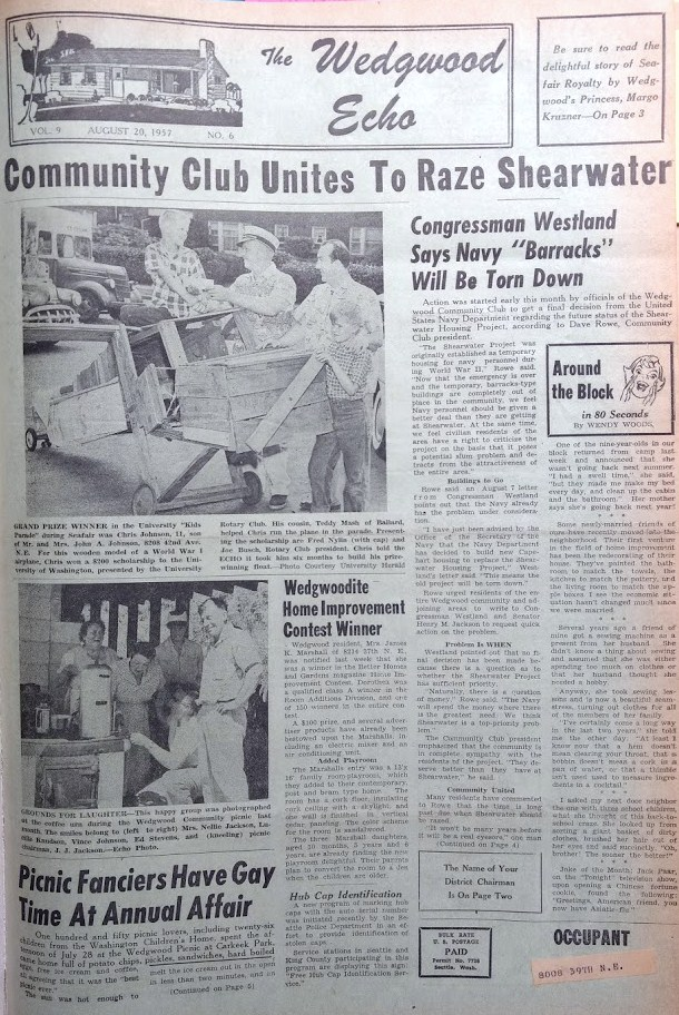 Shearwater article with letter from Congressman.Wedgwood Echo of August 1957