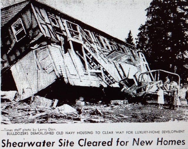 Shearwater building bulldozed.Seattle Times photo March 1 1966 page 37