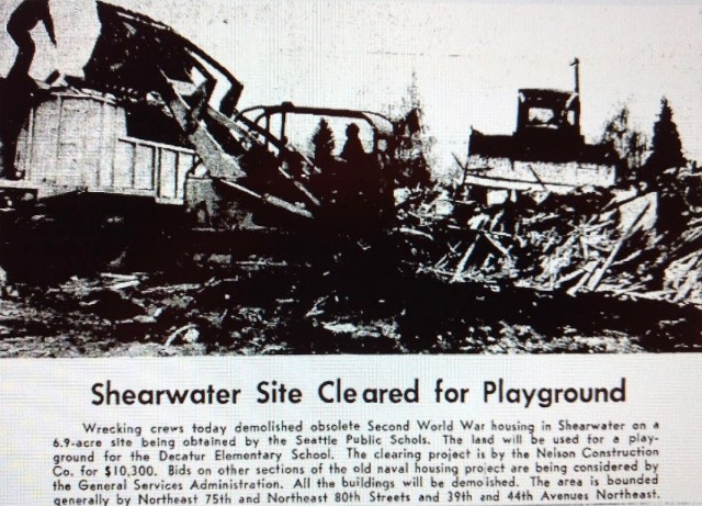 Shearwater cleared for playground.Seattle Times December 20 1965 page 43 (2)