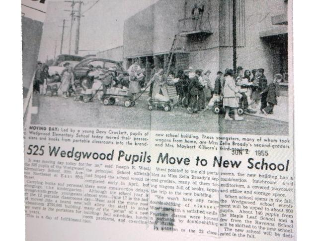 Wedgwood pupils move to new school building.June 1 1955 Seattle Times newspaper