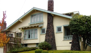 This typical Craftsman-style house in Wallingford is only 27 feet wide at the front. This side view shows how the house goes back 42 feet deep on the lot.