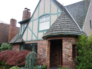 A Tudor house in the Maple Leaf neighborhood which conveys the impression of a medieval castle.