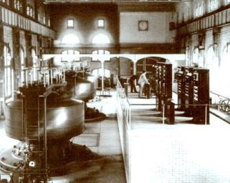 Power station with three Tesla AC generators at Niagara Falls, November 16, 1896. Courtesy of TeslaSociety.com