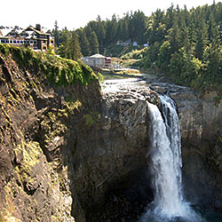 Snoqualmie Falls is located about 40 miles east of Seattle.
