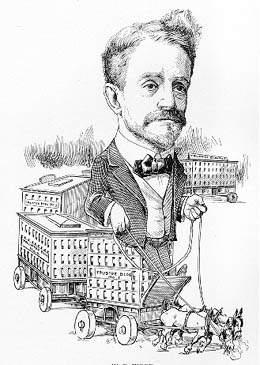 An Argus magazine cartoon version of William D. Wood, circa 1900, shows him riding his streetcars out to his residential development properties.