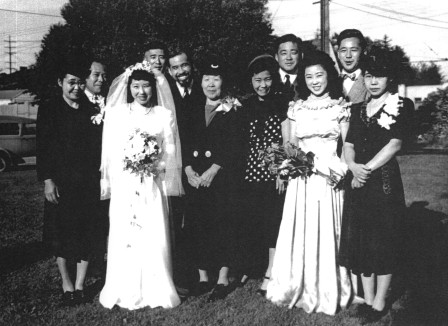 All ten Nishitani siblings gathered for the last time at the 1947 wedding of Connie, the tenth child.  Mother Jin Nishitani is at center.
