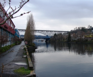 The Burke-Gilman Trail runs east-west parallel to the Ship Canal through the Fremont neighborhood.