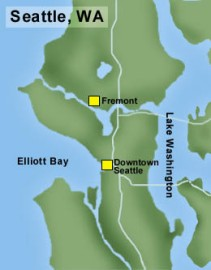 Fremont is easily reached from downtown Seattle by traveling along the west shore of Lake Union.