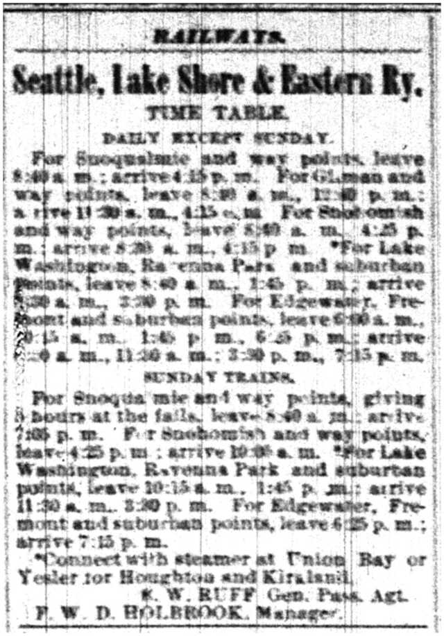 SLSE railroad schedule.July 20 1889