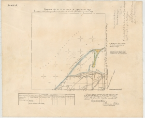 Survey of 1859 map, Dungeness, Clallam County. Bureau of Land Management survey records, Washington and Oregon.