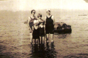 Swimming at Matthews Beach:  in the 1930s swim suits were made of wool.  Mrs. Land at left; Dorothy; eldest Land daughter Sadie Chilson; Lucille Chilson; Maxine, twelfth and last Land child.