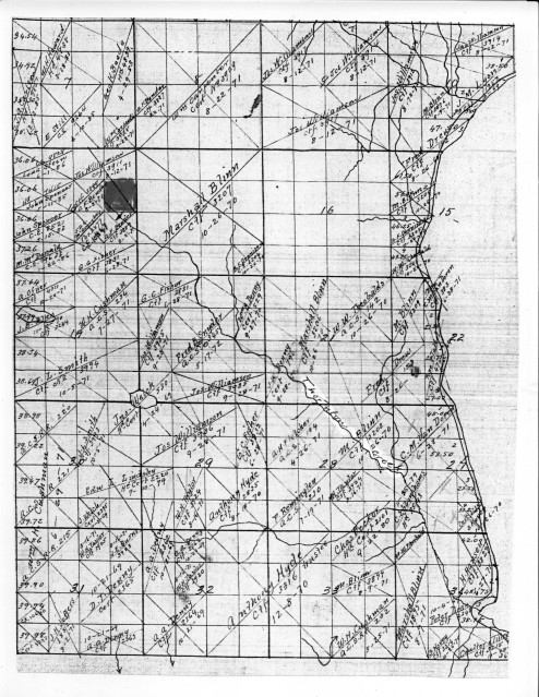 Township 26, Seattle north of 85th Street, map recording land claims prior to 1889. Map courtesy of the Seattle Room, Seattle Public Library.
