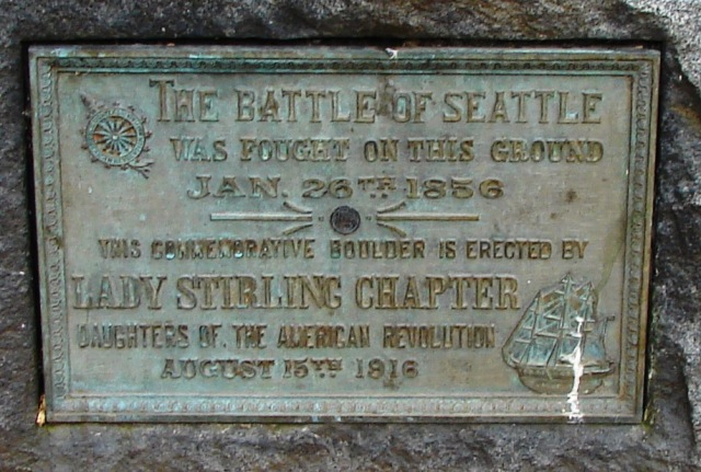 Battle of Seattle plaque closeup