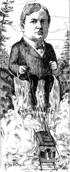 Charles Baker shown in an Argus magazine cartoon, sitting on Snoqualmie Falls and holding the electric lines of a streetcar.