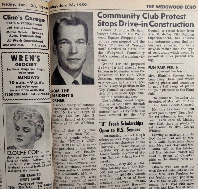 Drive-in protest of zoning.Wedgwood Echo of January 1959