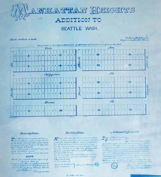 Manhattan Heights plat map of 1890