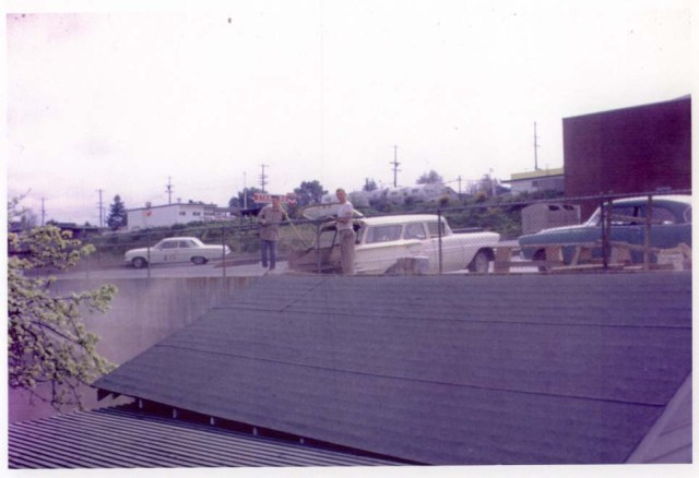 A 1960 view of Sateway, taken over the roof of 3603 NE 75th Street, the house behind the store. The photo shows Safeway positioned at 35th Avenue NE with access on the sides. Photo courtesy of Don Morgan.
