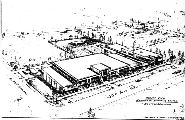 Safeway Shopping Center, architectural drawing submitted with rezone application. Seattle Municipal Archives Comptroller File #194270.
