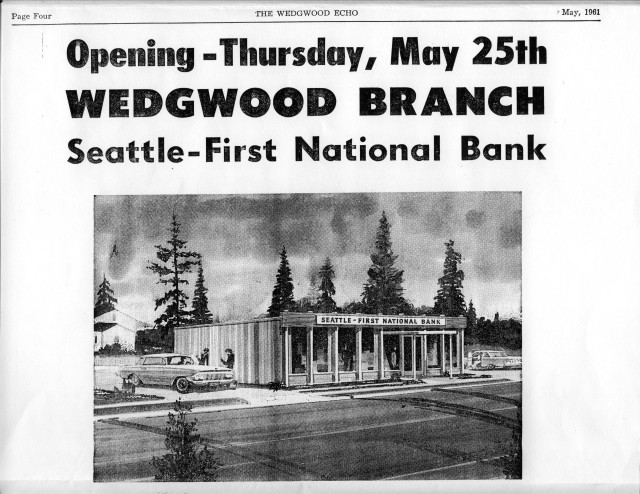 Seattle First National Bank in Wedgwood 1961