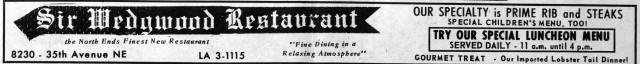 Sir Wedgwood banner advertisement in the 1967 Wedgwood Echo newspaper.