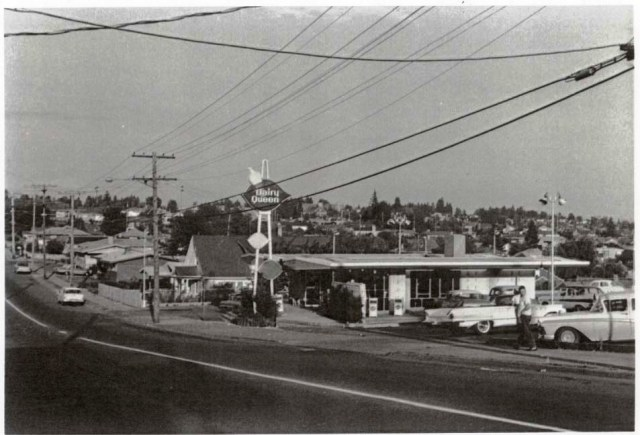 The Dairy Queen on the parking lot of the Wedgwood Safeway, looking eastward along NE 75th Street. The home of Don and Ginette Morgan, 3603 NE 75th Street, is at left. Photo circa 1963, courtesy of Don Morgan.
