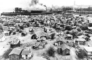 During the Great Depression years of the 1930s homeless encampments were called Hoovervilles.