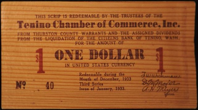 Tenino wooden money of 1933.