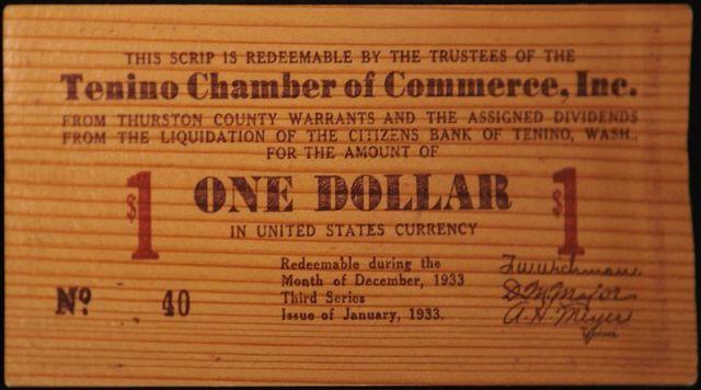 Tenino wooden money of 1933.