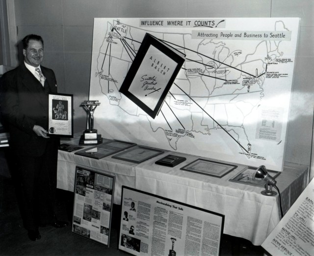 """In 1952 Albert Balch, """"Seattle's Greatest Booster,"""" received an award from the Seattle Chamber of Commerce for his work in attracting people and business to Seattle.  Photo courtesy of the Seattle Post-Intelligencer files in the Museum of History and Industry, 86.5 of March 27, 1952."""
